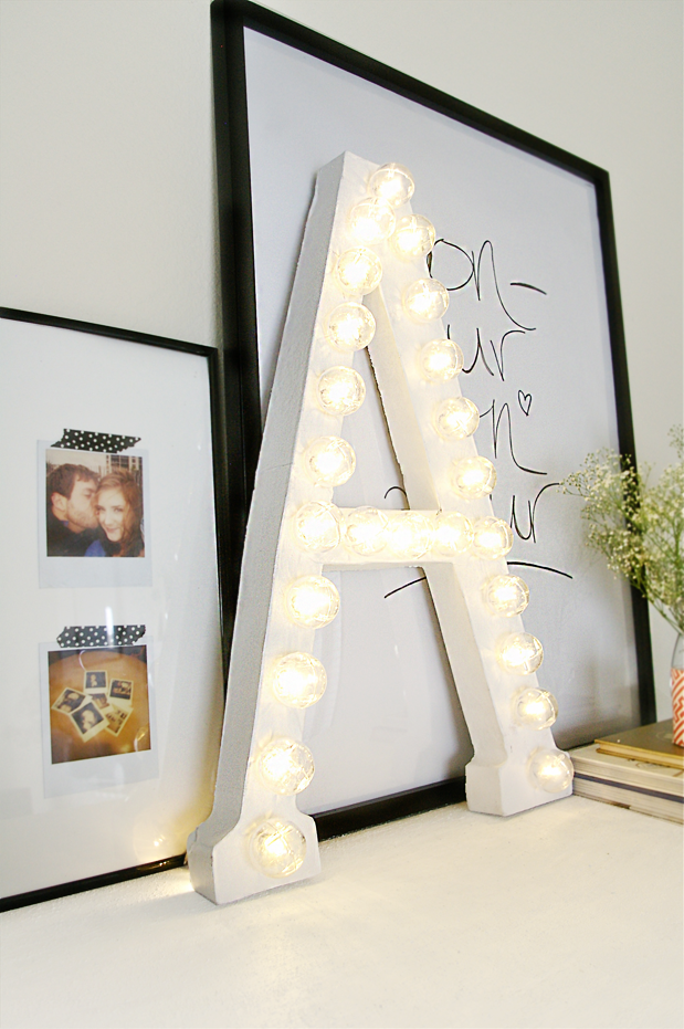 get your name in lights with this simple marquee letter diy free tutorial with pictures on how to make a letter in under 60 minutes by constructing with