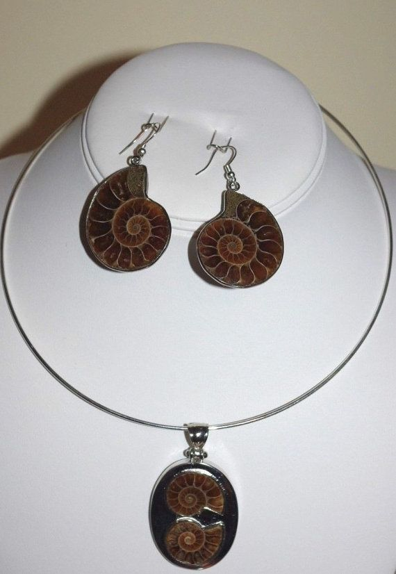 Set of Ammonite Fossil Choker Necklace and by SCLadyDiJewelry