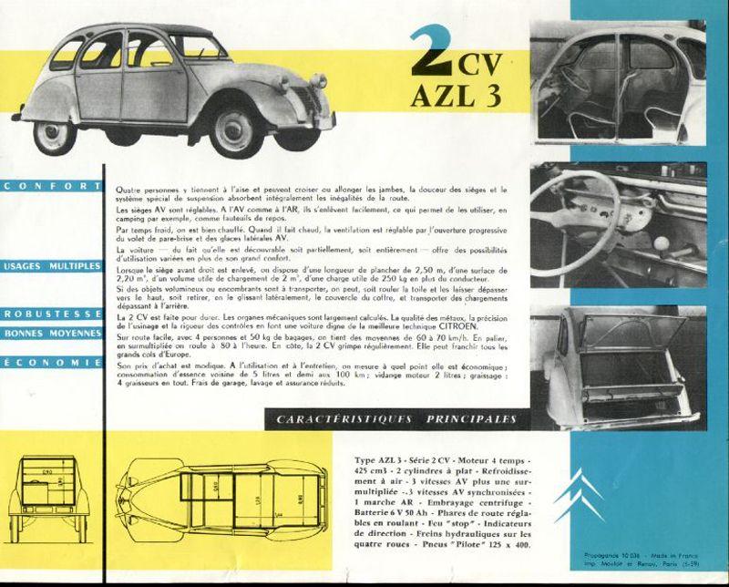 Belgian 2cv Azul Weekend And Azl3 Brochure 1959 Citroen 2cv Brochure Citroen