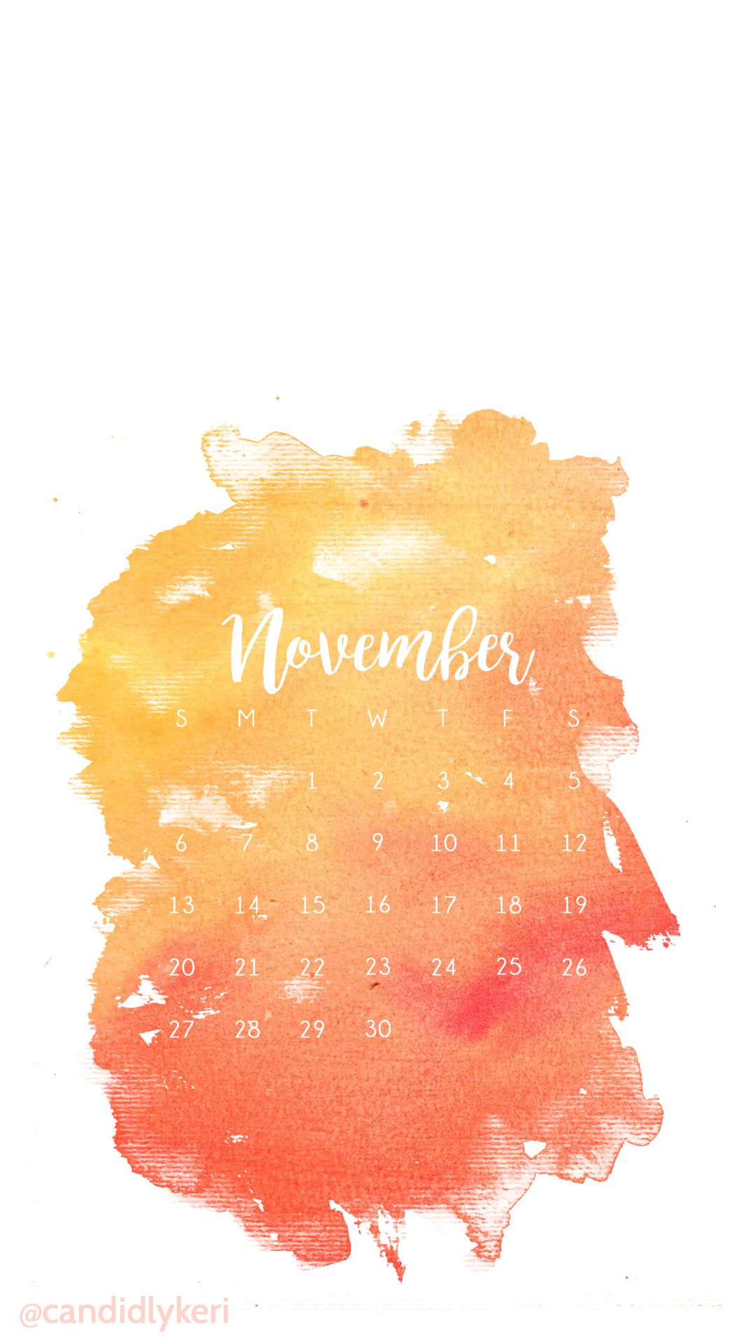 Orange red yellow fall colors watercolor november calendar for Wallpaper you can color