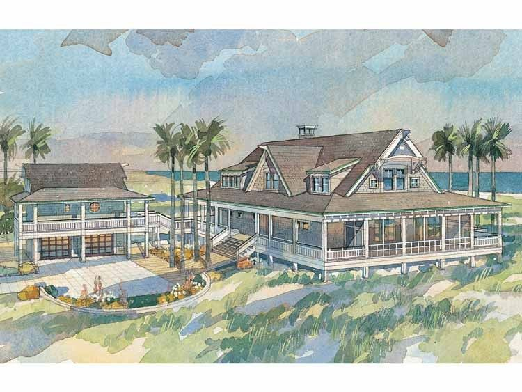 Eplans low country house plan ocean house from the for Ocean house plans