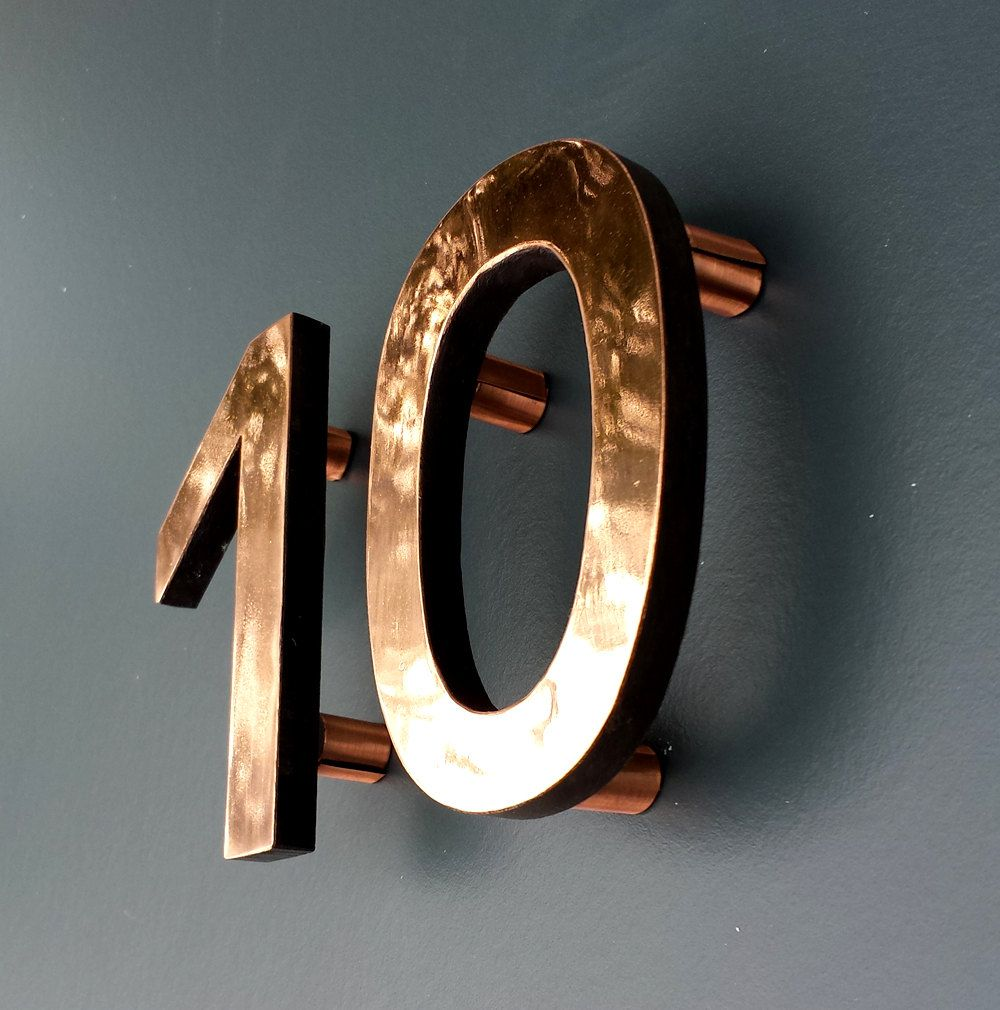 Modern Custom 4 High Floating House Numbers In Antigoni Copper Facing