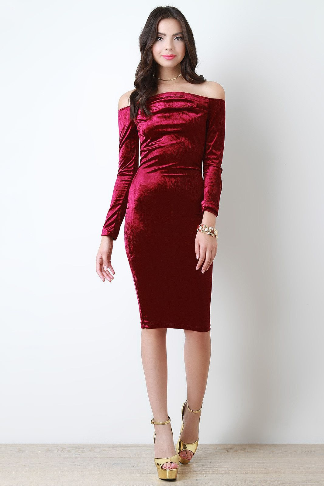 Off the shoulder velvet bodycon midi dress products pinterest