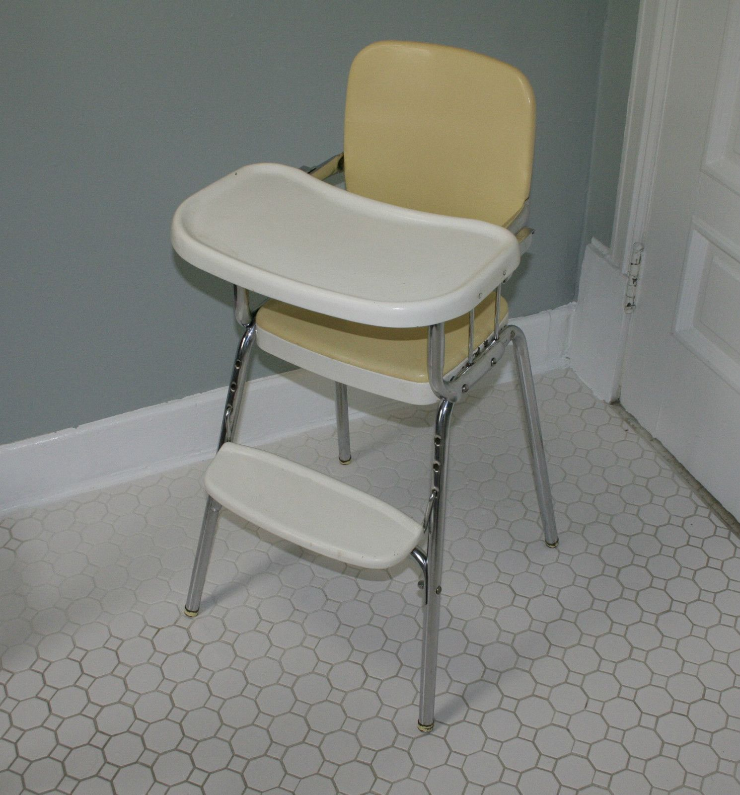 Retro High Chairs Babies Cheap Parson Chair Covers Vintage Cosco Chrome Steel Baby Sturdy Fixed