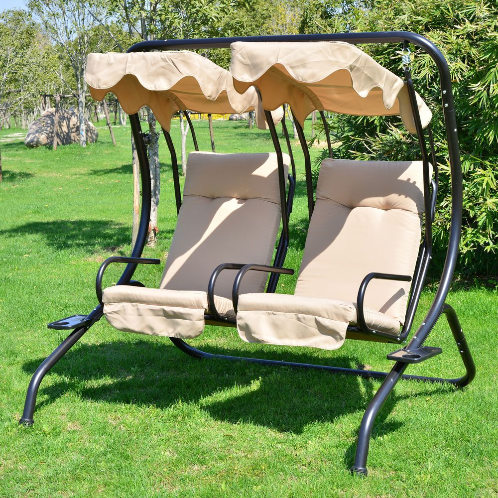 2 Person Outdoor Swing Seat Patio Hammock Furniture Bench Yard Loveseat W/ Canopy #Outsunny  sc 1 st  Pinterest & Outdoor Patio Swing Canopy 2 Person Seat Hammock Bench Yard ...