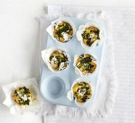 Mini Spinach Cottage Cheese Frittatas Recipe Cottage Cheese Recipes Bbc Good Food Recipes