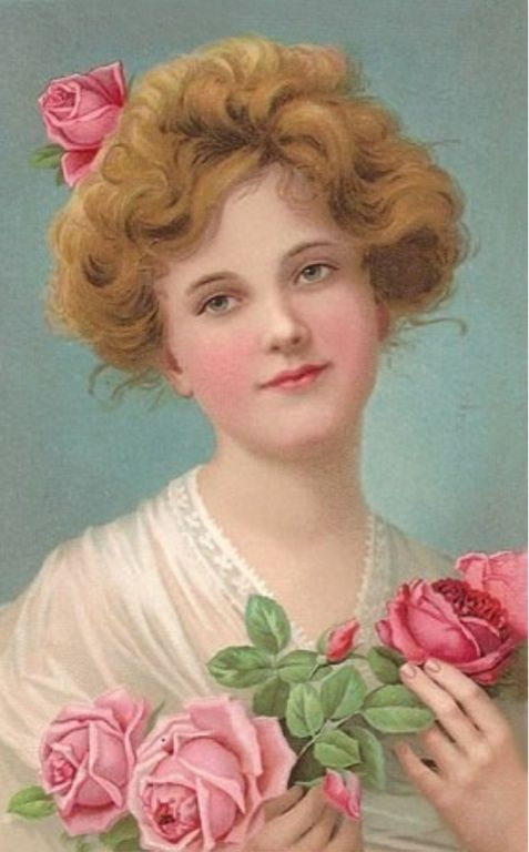 Vintage lady and roses