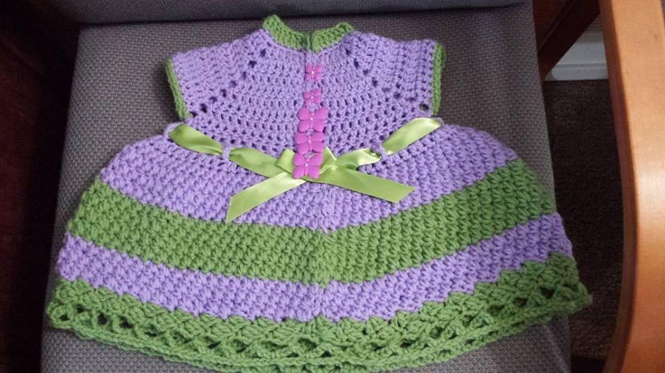 Hand Made Crochet Girl Dress (6-9) months $10.00 find us at facebook.com/hebachrochet