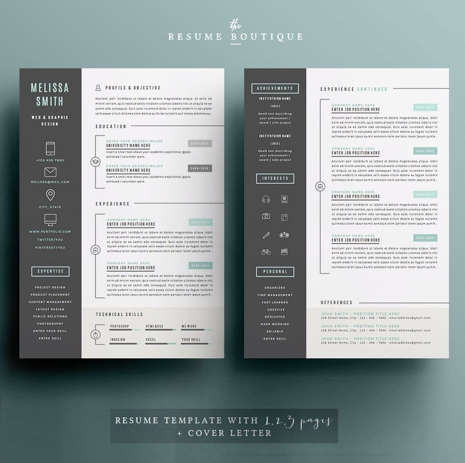 Resume Template 4 pages CV Template + Cover Letter for