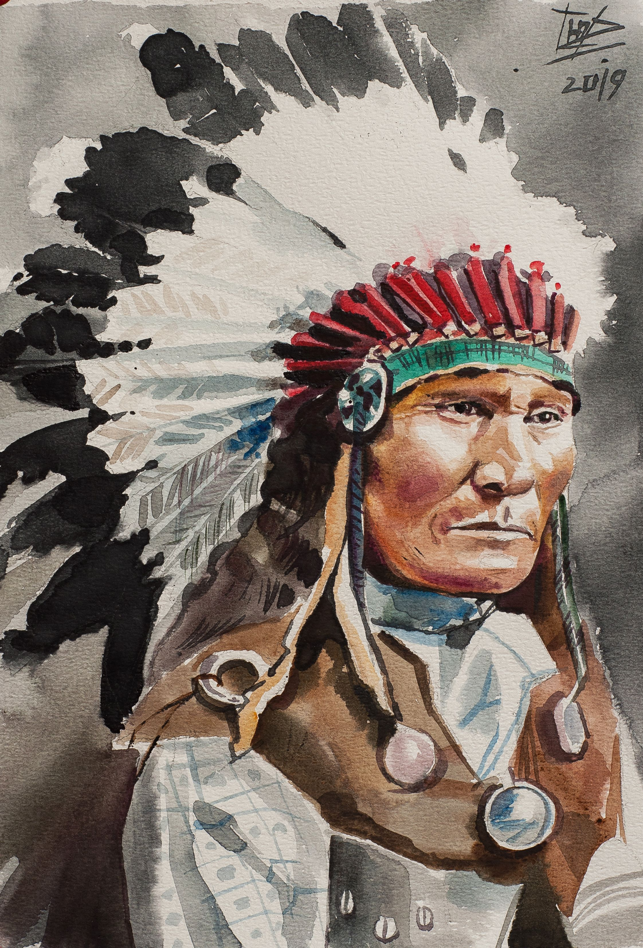 American indian watercolor painting, Indian Chief man ...