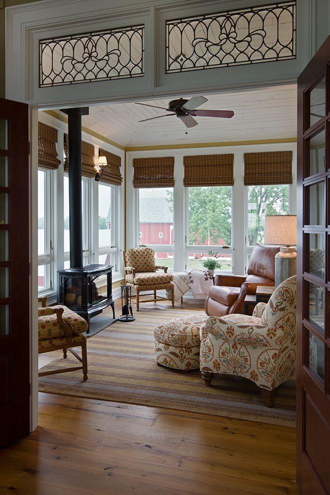 Sun Room Designs Sunroom Farmhouse With Wood Stove White Framed
