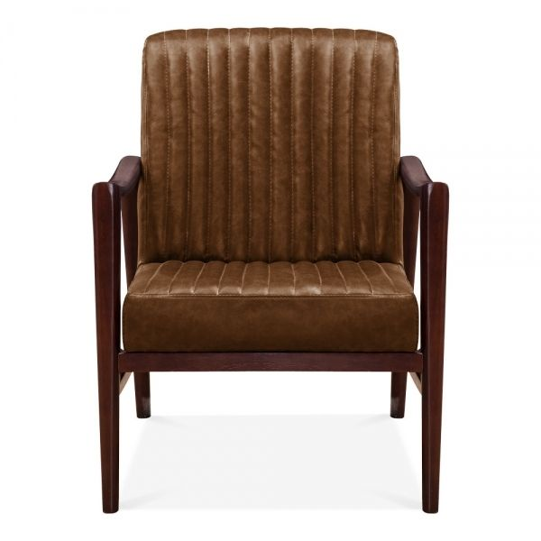 Photo of Humber Lounge Chair, Faux Leather Upholstered, Tan