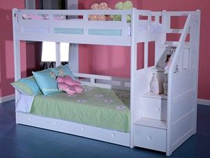 Luxury Solid Wood White Bunk Bed With Staircase Cama Y