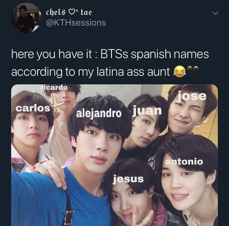 Pin By Marianne Ello On Bts Bts Memes Hilarious Spanish Names Bts Memes