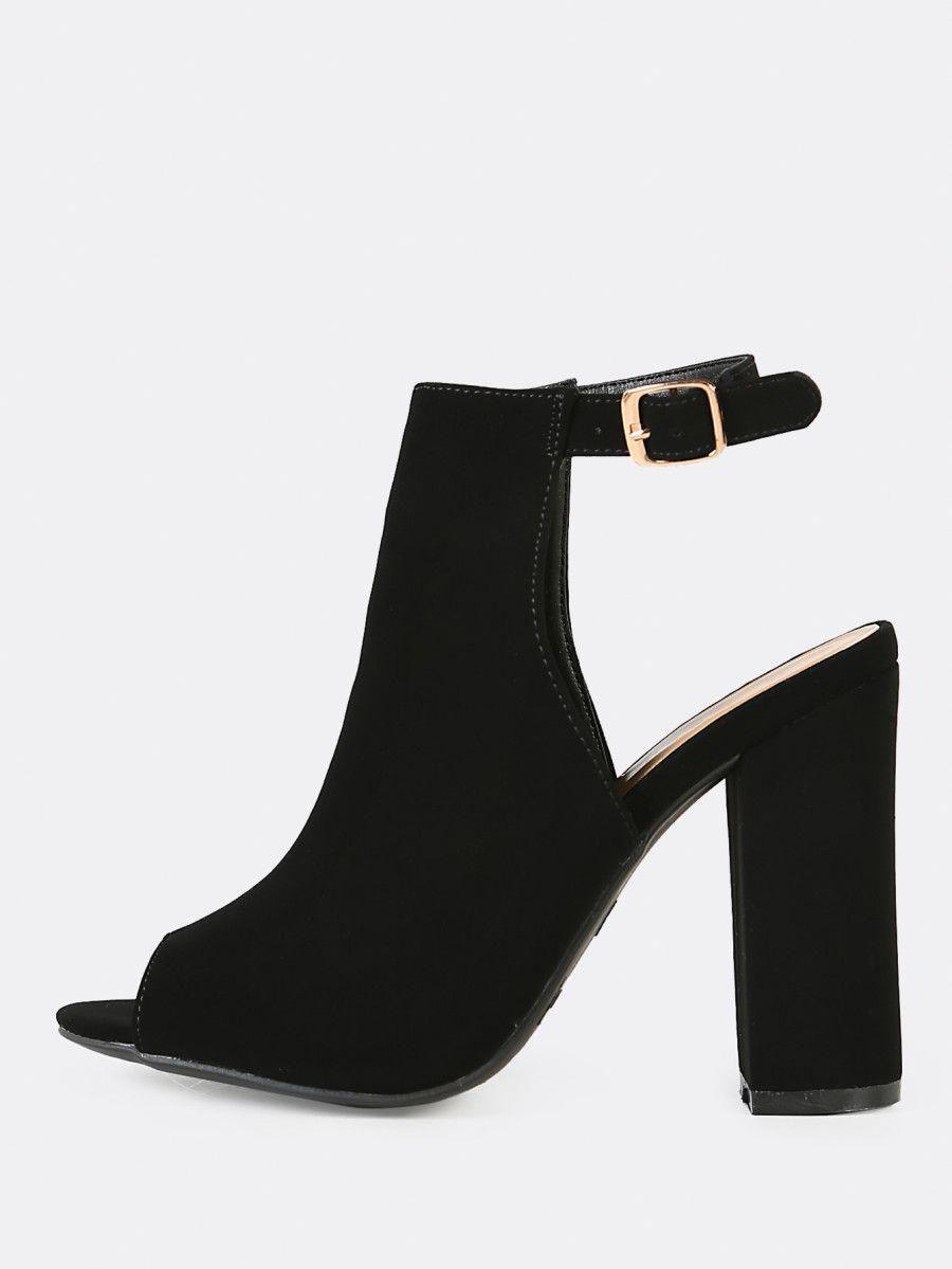 8a40ebfc24cc Peep Toe Ankle Strap Chunky Mule Heel BLACK -SheIn(Sheinside)  Stilettoheels