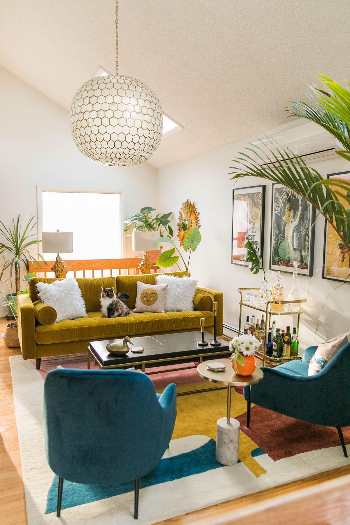 Sven Yarrow Gold Sofa In 2020 Art Deco Living Room Mid Century Living Room Glam Living Room