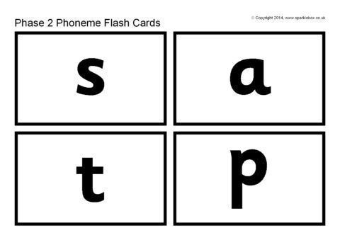Phase 2 Phoneme Flash Cards – Black and White (SB10518 ...