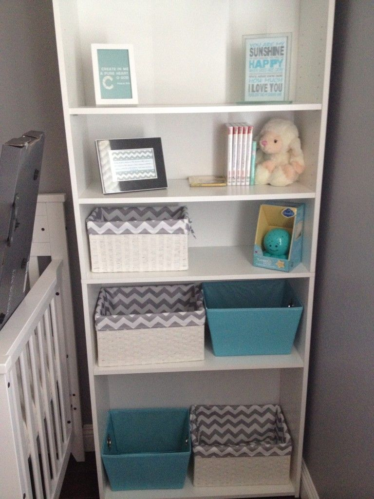 Room Project Nursery - Gray and White Boy Nursery Bookshelf and Storage Bins