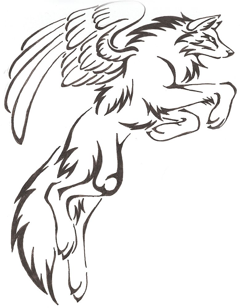 Mystical Fantasy Leaping Tribal Wolf Drawing With Wings Tattoo