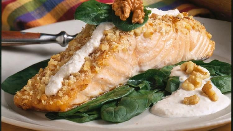 Walnut-Crusted Salmon with Walnut Buttermilk Cheese Sauce