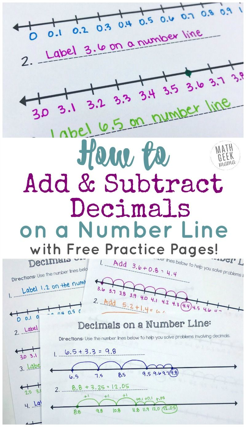 Add Subtract Decimals On A Number Line Free Printable Number