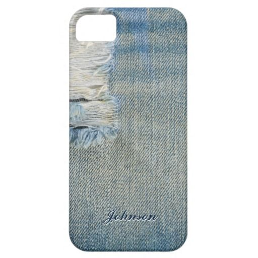 Cool Blue Jean & Threads Style with Custom Name | iPhone 5 Cases