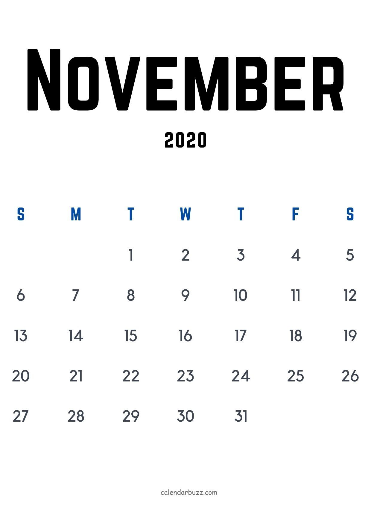 Free download November 2020 a4 calendar in vertical layout