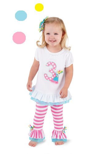 Mud Pie Baby Girl 1st 2nd or 3rd Birthday Outfit with  Party Hat  Hair Bow   9adc9299193e