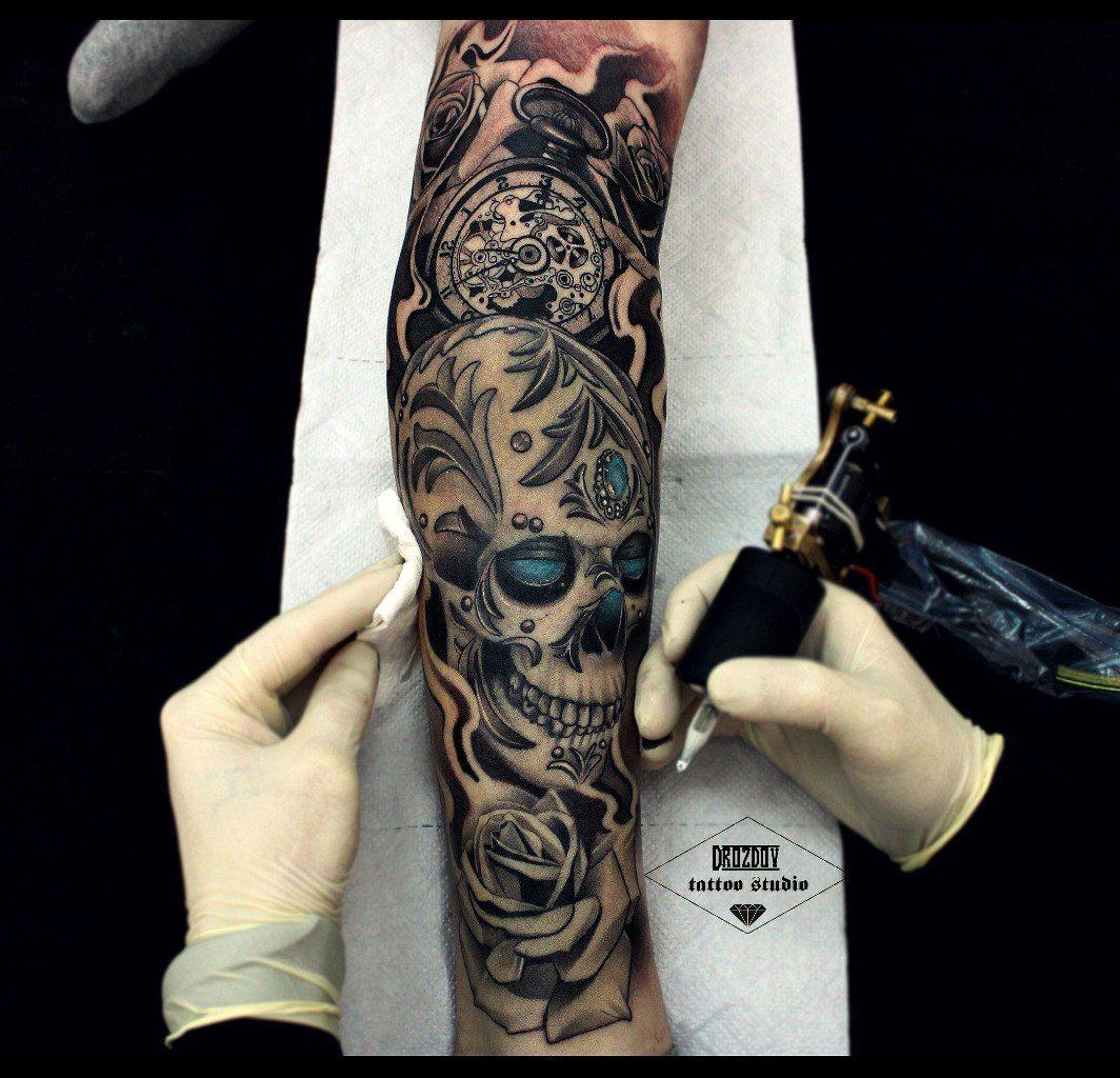 black and white tattoo sleeve vladimir drozdov ukraine tatts pinterest tatouages. Black Bedroom Furniture Sets. Home Design Ideas