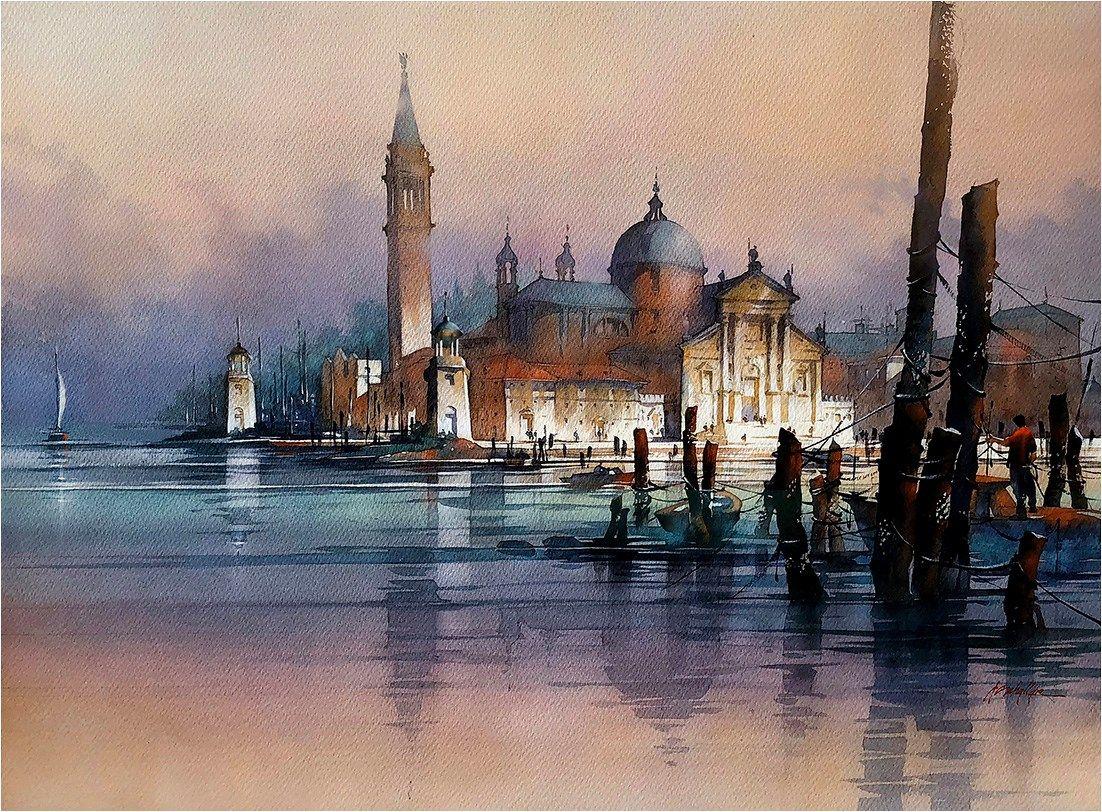 Thomas Schaller Nightfall Venice Paysage Aquarelle