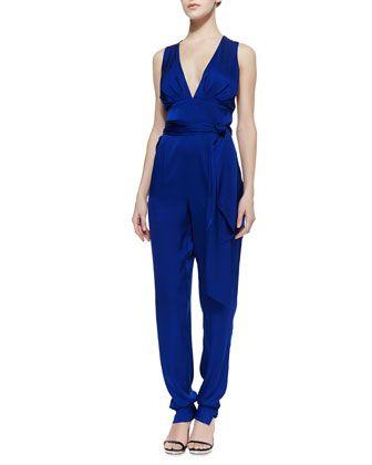 Deep V-Neck Stretch-Silk Jumpsuit by Catherine Malandrino at Bergdorf Goodman.