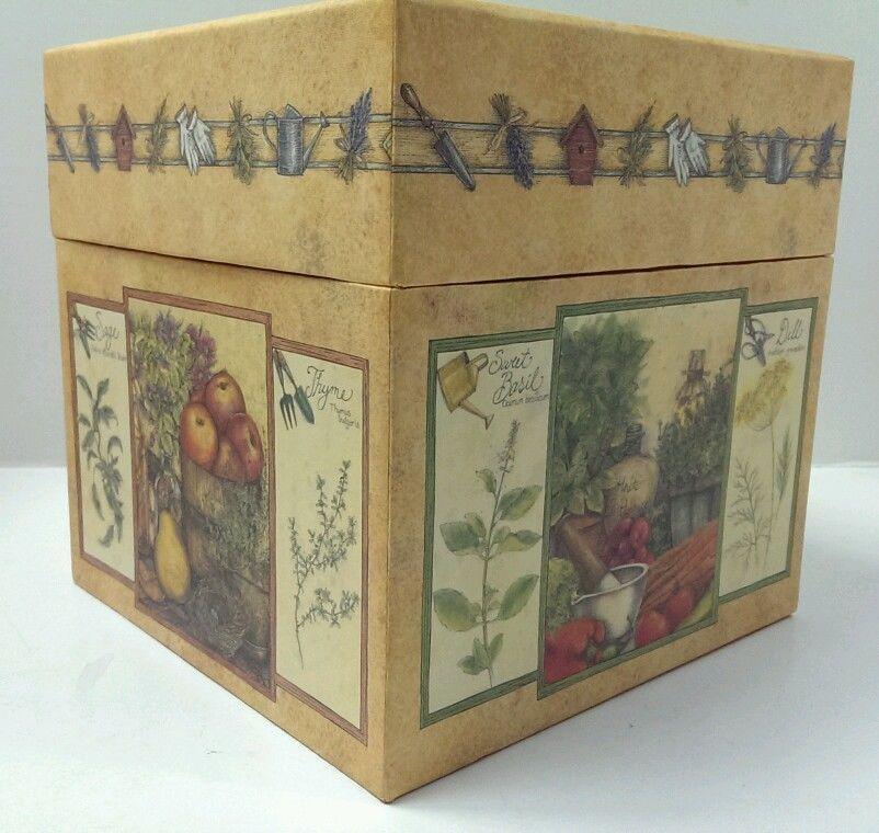 "Bob's Boxes Seasonal Herbs Decorative Storage Box 7 1/8"" square #BobsBoxes"