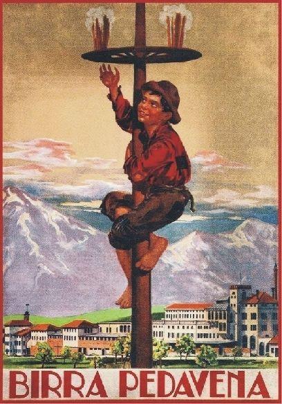 TARGA VINTAGE 1938 BIRRA PEDAVENA Pubblicita Beer Advertising Poster Plate