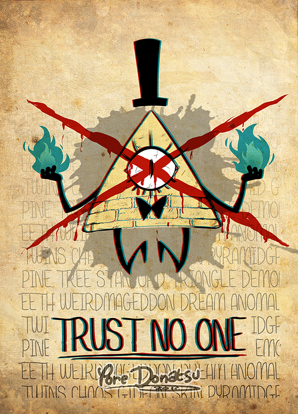 Trust No One Reverse Falls Gravity Poster