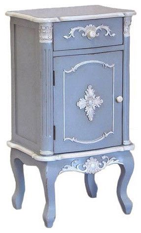 Shabby Chic French Blue Bedside Table Traditional Nightstands And