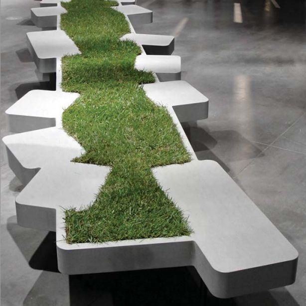 Modus Furniture Urban Seating Storage Bench Natural Linen: Philippe Nigro Seating Urban Seating Unit Adorned By
