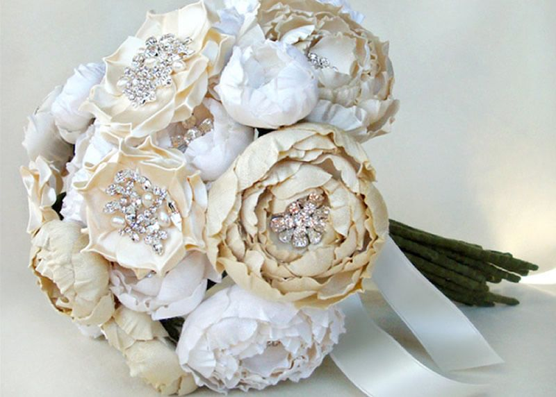 Image Of Ivory Off White And Cream Silk Catala Jeweled Bloom Bridal Bouquet May Not Be Exactly What You Looking For But They Can Look Like Peonies