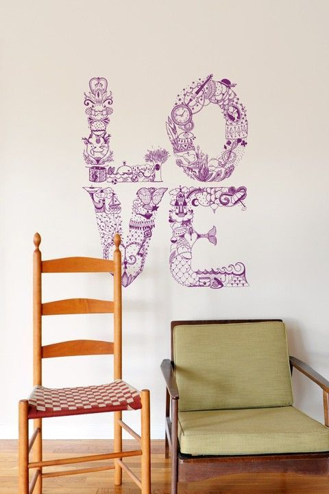 Wall decal is based on the Threadless t-shirt design LOVE by eika
