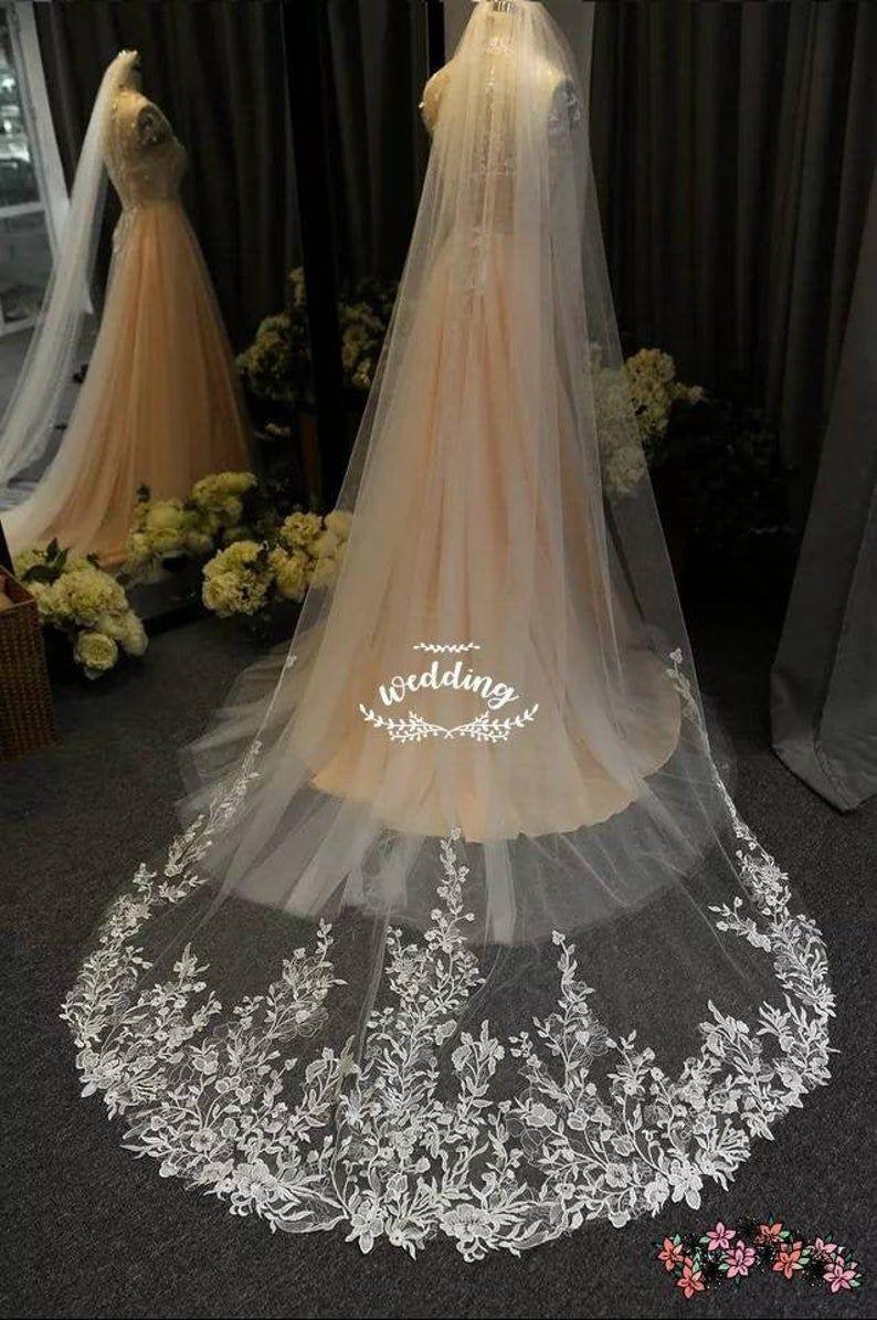White Chapel Brides Veil With Embroidery White Wedding Veil Etsy Long Veil Wedding Ivory Bridal Veil Bride Veil [ 1195 x 794 Pixel ]