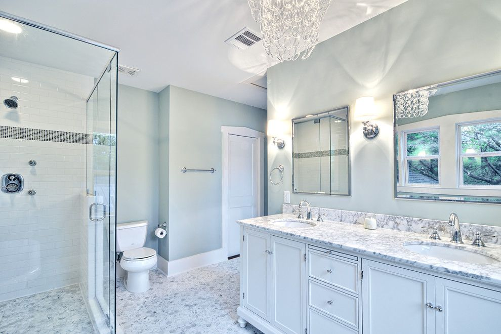 The Bathroom Is A Good Sized Small Bathroom With Beautiful Blue And White  Flora Tiles And