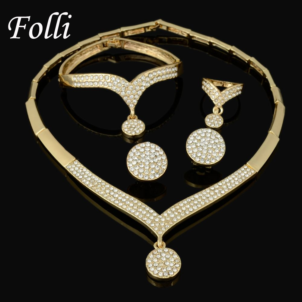 New Elegant Italian Gold Plated Jewelry Sets Crystal Unique Drop