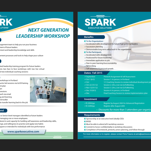 Leadership Workshop Flyer SPARK helps CEOs and executives of