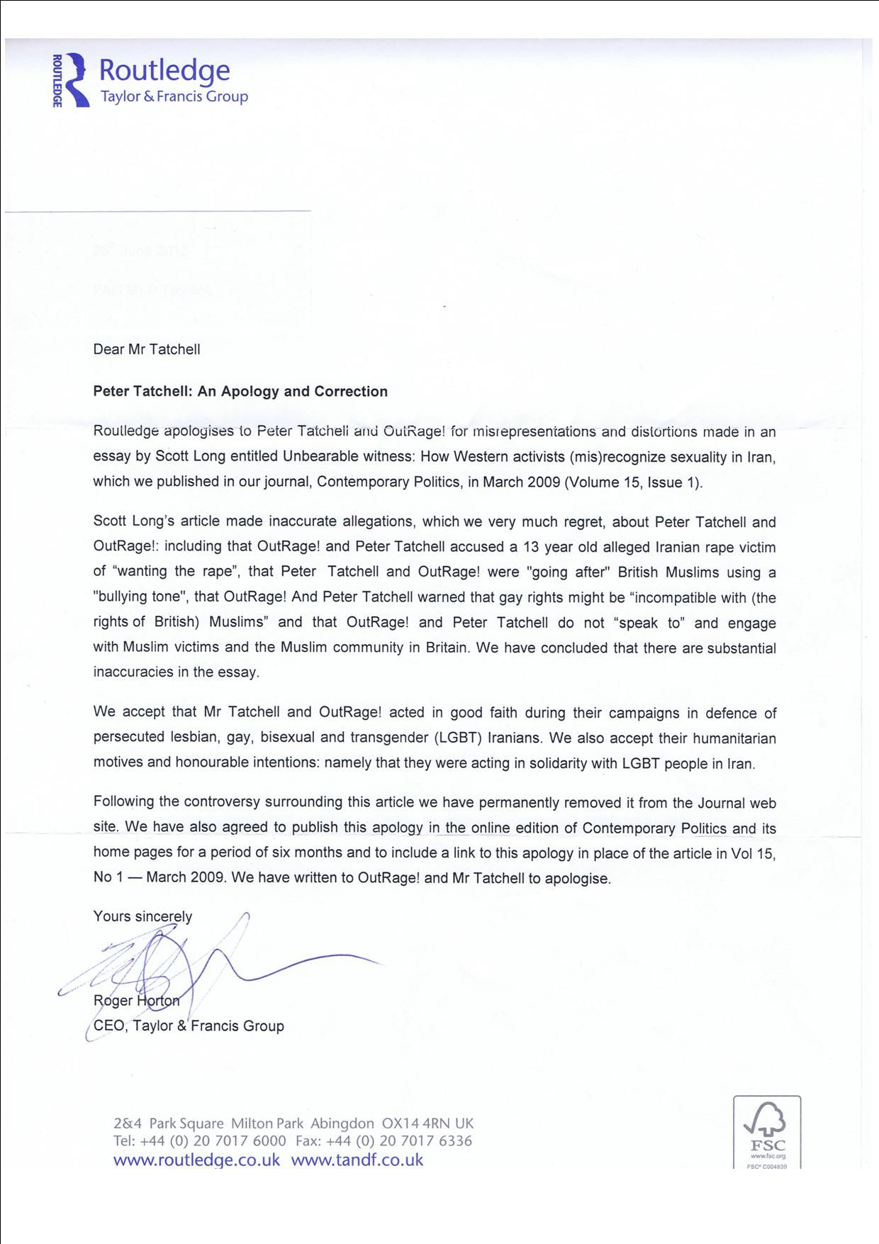 Copy Of Routledge Letter Of Apology To Peter Tatchell Peterletter