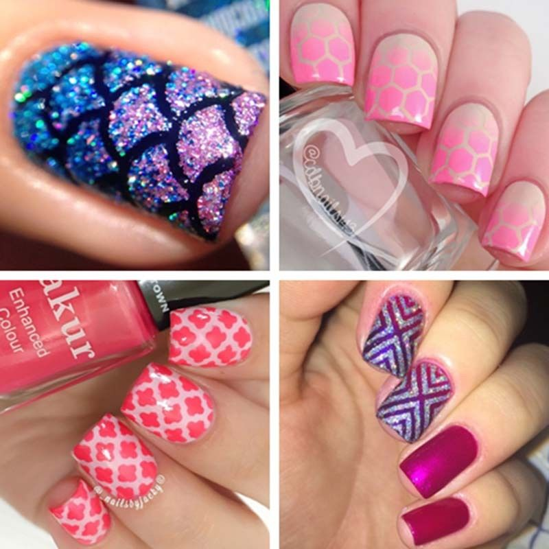 12Tips / Sheet Nail Art Manicure Stencil Stickers Nails