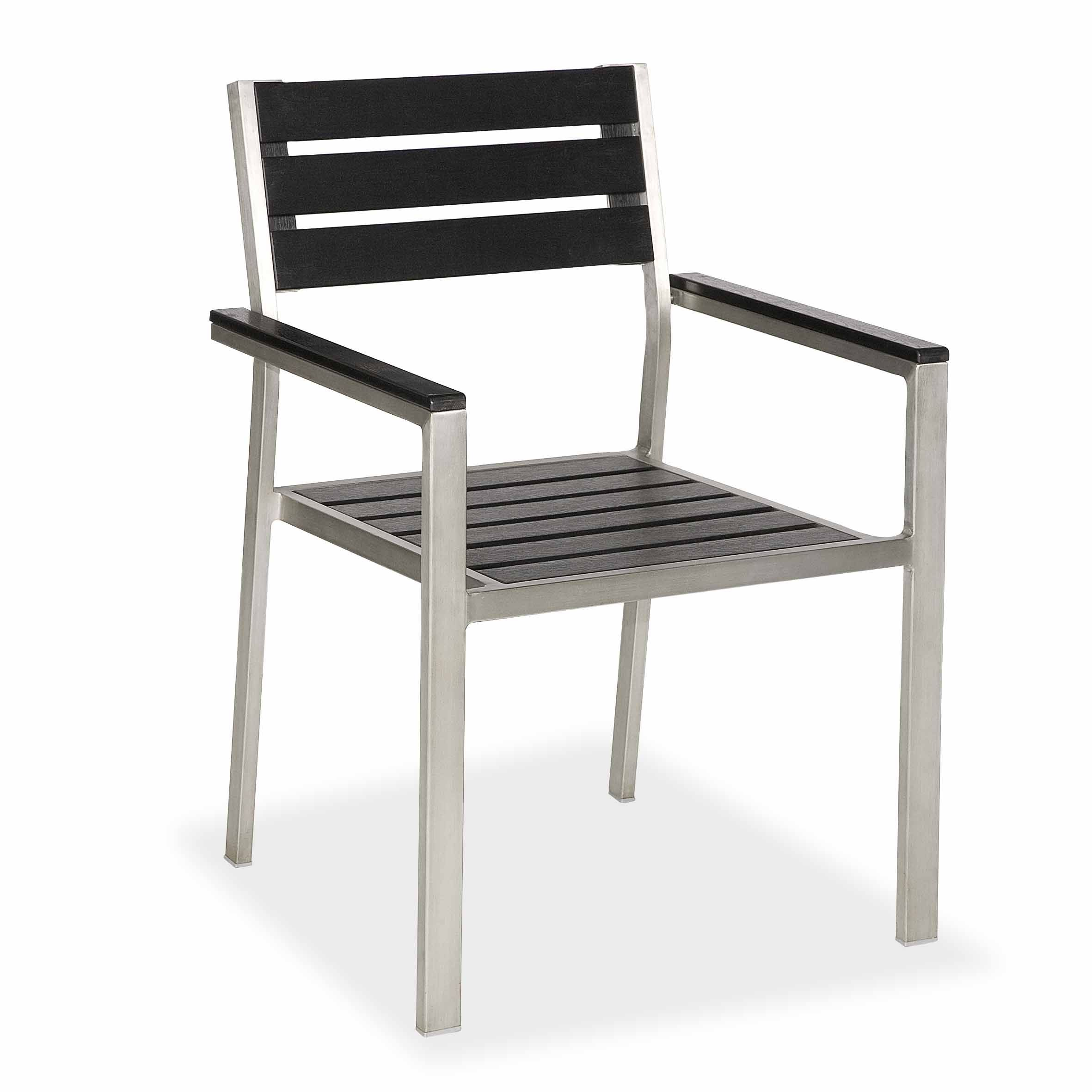 CH C051 stainless steel frame plastic wood top outdoor chair