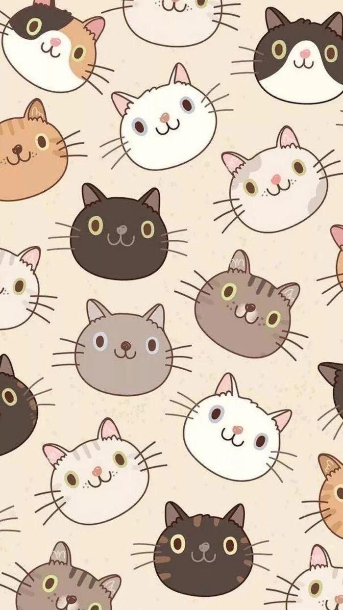 Обои на телефон милые котики нарисованные