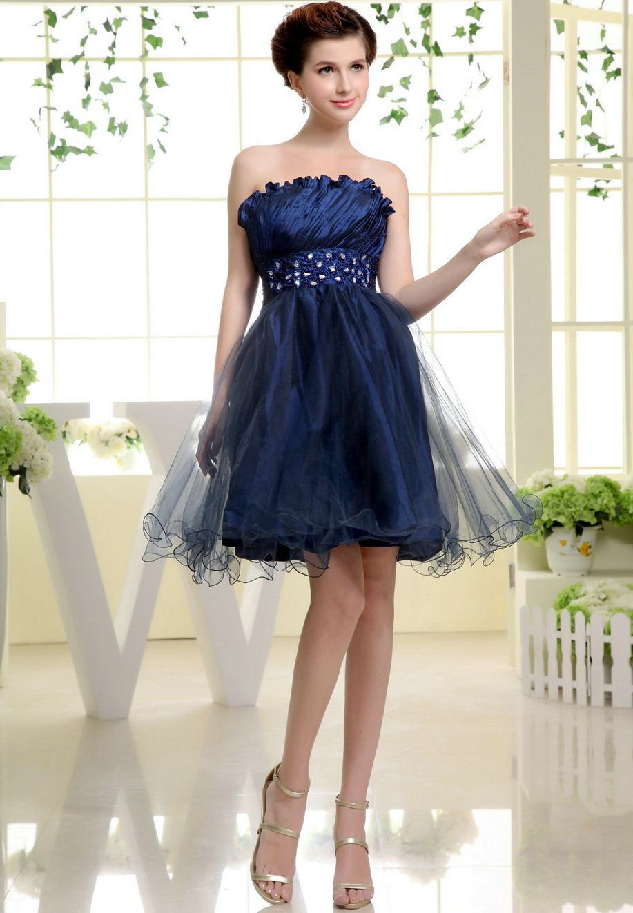 Beaded strapless ruched dark blue prom dress prom dresses
