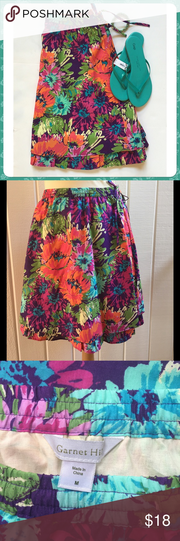Purple Floral Cotton Skirt by Garnet Hill NWOT. Fully lined. Elastic waist with drawstring & side pockets. Excellent condition. Never worn. Comes from a smoke- and pet-free house. Bundle for additional savings! Garnet Hill Skirts A-Line or Full