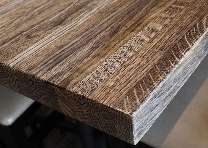 Custom White Oak Restaurant Table Distressed Surface Bengal Finish