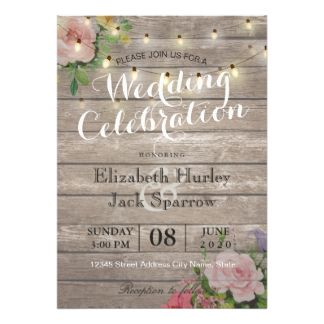 Rustic Wedding Invitation Fl Wood String Light
